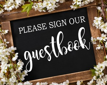 Please Sign our Guestbook Decal, Wedding Decal, Guestbook Sign, Wedding Guestbook, Wedding Sign, Rustic Wedding Decor, Vinyl Decal