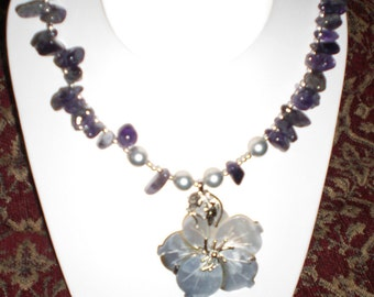 Amethyst, South Sea Shell Pearls and MOP Necklace