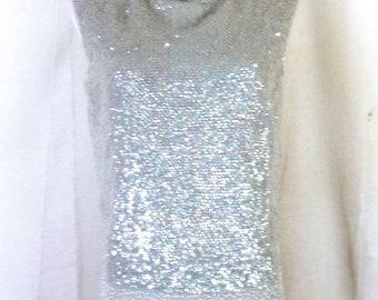 vtg 60s rare Original 100% Wool Heavily Beaded Sequin Top Sleeveless sz M 38