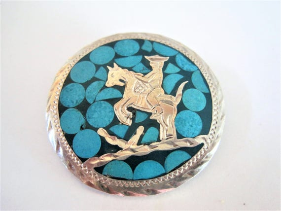 Sterling Silver Brooch, Mexico Eagle 1,  925 Pendant, Turquoise Enamel on Sterling, Signed ASC Pin