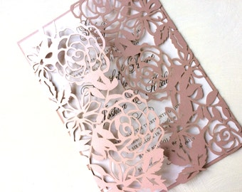 Laser Cut Floral Wedding Invitation, Blush Rose Pink Wedding Invitation with Floral Design