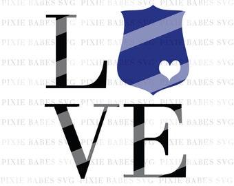 Love Badge SVG, Thin Blue Line SVG, Back the Blue svg, Police Badge svg, Cricut svg, Silhouette svg, Police Wife SVG, Coffee Mug svg