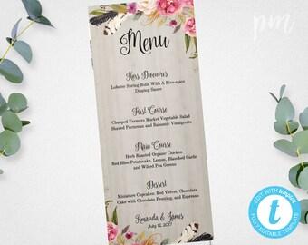 Wedding Menu Template Printable Menu Floral Wedding Menu