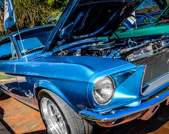 1968 Ford Mustang Car Photography, Automotive, Auto Dealer, Muscle, Sports Car, Mechanic, Boys Room, Garage, Dealership Art