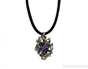 Amethyst Pendant Necklace, Amethyst Birthstone, Birthstone Necklace, Gift for Her, Bohemian Necklace, Amethyst Jewelry, Amethyst Necklace