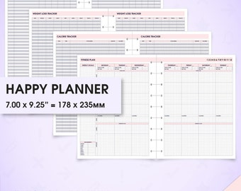 Happy planner printable fitness inserts wo2p.v (health planner, fitness tracker, fitness journal, food diary, workout, arc planner)