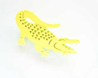 Alligator Brooch, Crocodile Brooch, Alligator Pin, Statement Pin Badge, Gift for Her, Laser Cut Brooch, Florida, Gift for Him, Festival