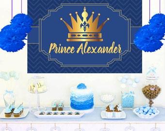 Birthday Prince Photo Personalized Backdrop - Birthday Cake Table Backdrop, 1st Birthday Prince backdrop, Vinyl Backdrop, Printed Backdrop