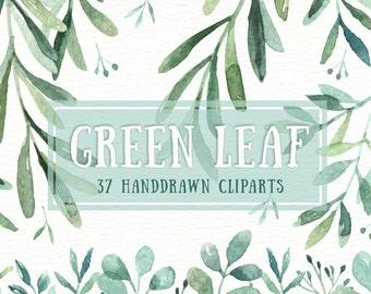 Green Leaf Watercolor clipart, watercolor flower, Watercolour Leaves, Leaf clipart, Wedding Clip Art, wedding invitation, wreath, green