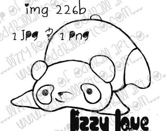 Digi Stamp Digital Instant Download Kawaii Animal Friend ~ Chubs the Panda Image No. 226 & 226b by Lizzy Love