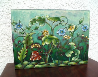 Original acrylic painting, cradled wood panel, home decor, collectible art, fantasy flowers, ready to hang, one of a kind Floral fantasy III