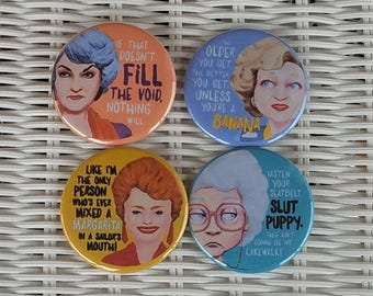 Original Artwork Set of 4 Golden Girls FREE PINS when you order a set of magnets