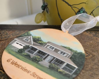 Custom House Ornament, House Painting, Personalized Ornament