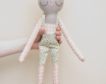 Large Pink Plaid Flowering Fox with Overalls