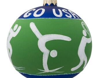"4"" Tennis, Gymnastics, Volleyball USA Olympic Glass Ornament"