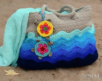 CROCHET PATTERN - Turtle Beach Tote - crochet tote pattern, beach bag pattern, crochet turtle tote, crochet beach bag - Instant PDF Download