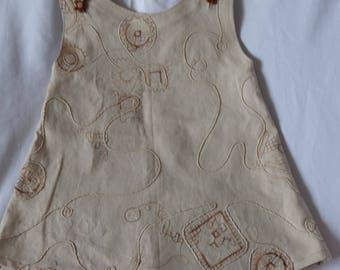 Stitched cotton dress for little ladies