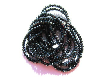 30 ROUND GLASS BEADS HAVE FACETED HEMATITE GUNMETAL WIRE 3MM