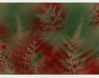 Floracard #29 - One of a kind monoprint greeting card using local flora specimens gathered along the Delaware Canal, Buck County, Penn.