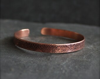 Art Nouveau Copper Cuff Bracelet - Thin Cuff, Etched Oxidized Copper, Metalwork Jewelry, Boho Jewelry