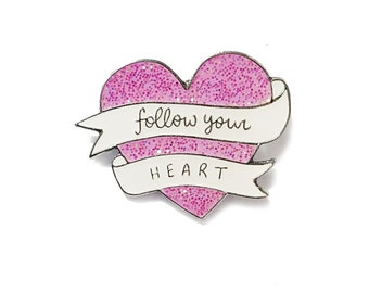 Follow Your Heart Soft Enamel Pink Glitter Pin by Veronica Dearly - Cute Enamel Pin - Pink Heart Pin Badge - Glitter Heart Enamel Lapel Pin
