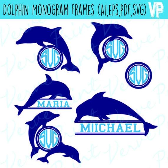 Dolphin Frame Svg, Ai, Eps, Pdf Monogram Silhouette, Cutting file ...