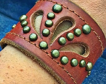 Studs and Leaves Leather Cuff