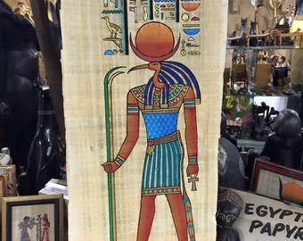 Vintage Hand Painted Papyrus Egyptian God Thoth Made In Egypt  and signed by the original Egyptian Artist.