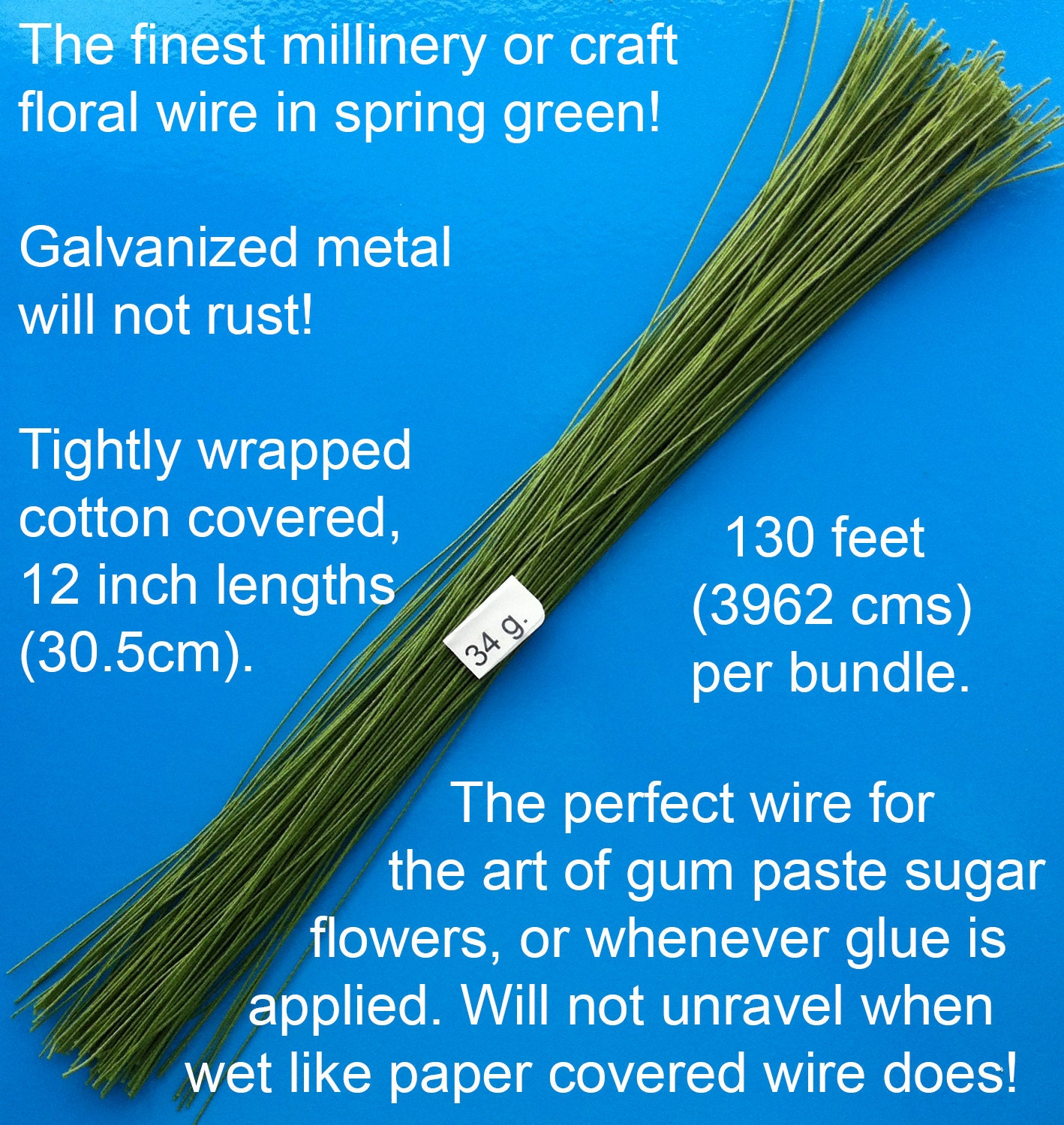 34 Gauge Green Cotton Covered Floral Wire - 130 feet per bundle ...
