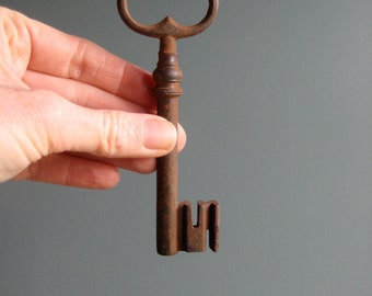 A vintage, french steel key, front door key, large vintage key, rusty key, home decor