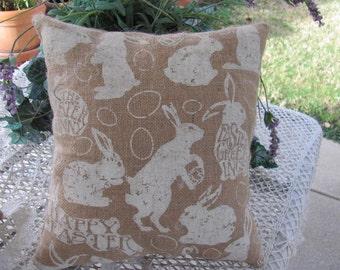Plump Easter Bunny Rabbit Burlap Pillow, Happy Easter Decor ,13 x 14