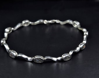 Sterling Silver Bracelet with Semi Precious Gemstones.