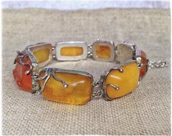 BALTIC AMBER bracelet, silver bracelet, unique amber jewelry, natural amber