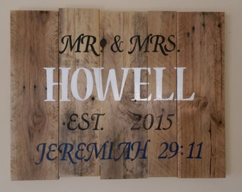 The perfect Wedding Gift! Rustic, Reclaimed Wood, Handpainted Wedding Wall Hanging