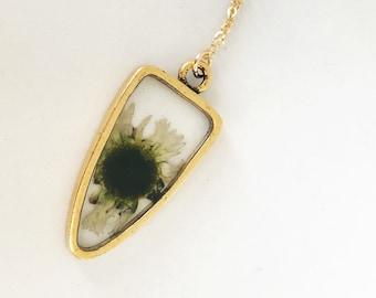 Pressé de Marguerite blanche pointe de flèche en pendentif, or, rempli de résine
