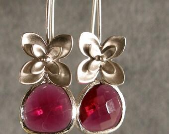 Fuchsia Glass Little Flowers Silver Bridesmaid Earrings, Wedding Earrings, Bridal Earrings, Silver Earrings (3665w)