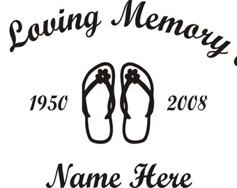 In Loving Memory Of Flip Flop Memorial Window Decal