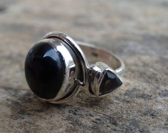 Sterling Silver Natural Black Onyx  Ring Size 5.5 - Smoky Topaz Ring Size 5 6 - Natural Stone Ring Black Onyx Handmade Ring Size 5.5