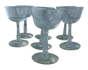 SALE! Vintage Set of 7 Art Deco Style, Midcentury Wine Glasses