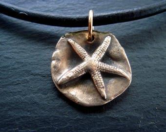 Bronze Jewelry Men / Mens Beach Necklace / Starfish Pendant / Rustic Necklace / Surfer Jewelry/ Mens Jewelry