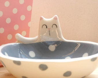 Ceramic bowl with kitty and polka dots, sauce, bowl appetizers, jewellery box
