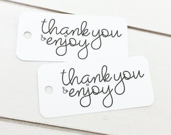 Wedding Favor Tags / Wedding Thank You Tags / Wedding Gift Tags / Kraft Tags / Product Tags / Hang Tags / Party Favor Tags / Enjoy Tags