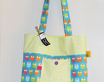 tote bag turquoise owls Made in France