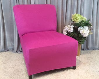 More Colors. Slipcover Magenta Suede Chair Cover ...