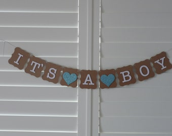 IT'S A BOY Banner Bunting Garland - Baby Shower decoration, Baby Shower sign, Birth Announcement