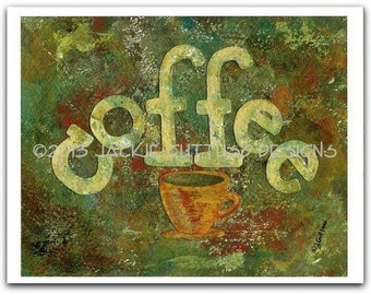 """Coffee art, Archival print, 8 x 10"""", Coffee lover gift, Coffee cup kitchen decor, Coffee collage, Dining room art, Acrylic painting print"""