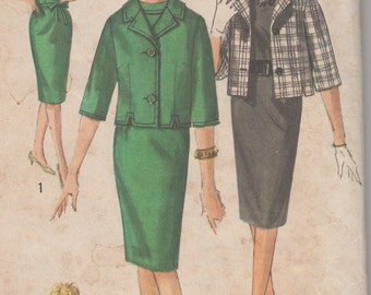 Bust 33-FACTORY FOLDED 1960's Junior Petite Dress and Jacket Simplicity 4146 Size 11