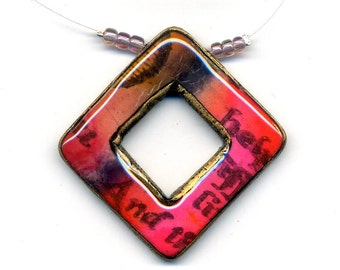 Pendant of polymer clay unmounted pendant Polymer clay pendant