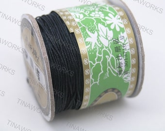 1mm Black Chinese Knotting Cord / Braided Nylon Bead Cord (136 yd roll)