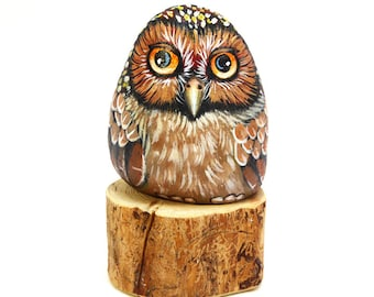 Brown Owl-Hand Painted Stone-Home Decor-Owl feather Bird-Natural Rock Art